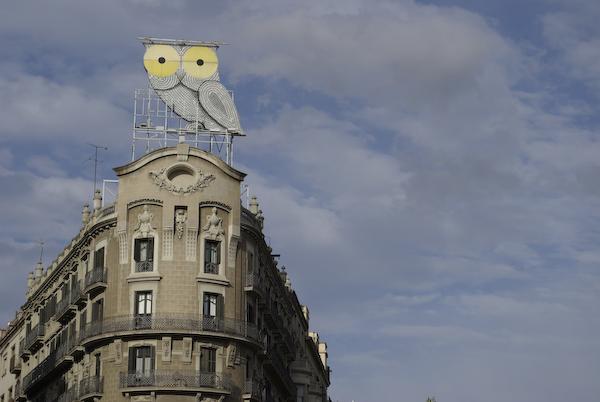 Owl atop a building along Avinguda Diagonal, Barcelona